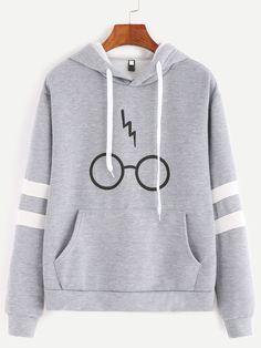 Grey Glasses Print Sleeve Contrast Trim Hooded Pocket Sweatshirt