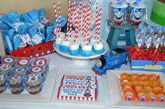Thomas the Train Birthday Party Ideas- Love the marshmallow pops.