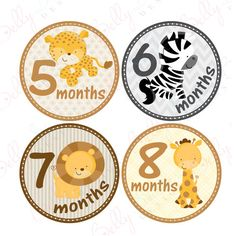 Neutral Monthly Baby Stickers 1 to 12 Months by BellyStickers