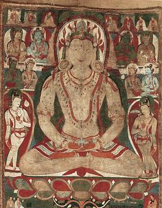 "This massive image of Amitayus from the 11th or 12th century presents this Buddha of limitless life and pristine awareness in a celestial Pureland. He sits in meditation holding a ""kalasha"" (vase) filled with the ""amrita"" (nectar of immortality) and is surrounded by bodhisattvas and other celestial beings. The style of this work strongly relates to wall paintings from the site of Drathang."