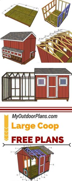 Chicken Coop - Learn how to build a large chicken coop so you can raise up to 20 chickens in your own backyard. I have designed these free large chicken coop shed with run chicken coop so you can have fresh eggs every day! 3diy myoutdoorplans.com Building a chicken coop does not have to be tricky nor does it have to set you back a ton of scratch. #freshchickeneggs #chickencoopdiy #raisingchickens #shedbuildingdesign