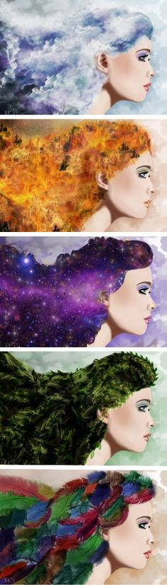 Clouds, Fire, Stars, Leaves and Feathers in the hair Digital painting