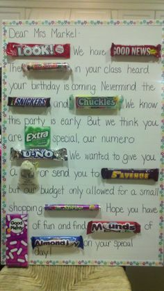 Teacher birthday or other gift.