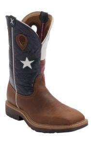 Twisted X® Brown with Texas Flag Top Square Toe Work Boot - Steel Toe | Cavender's