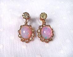 Pretty little pair of vintage faux opal and rhinestone dangle earrings!