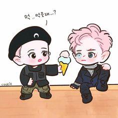 CY: do you wanna eat (this ice Cream)? Baekhyun Fanart, Chanbaek Fanart, Exo Chanbaek, Kpop Exo, Park Chanyeol, Exo Cartoon, Exo Anime, Episode Interactive Backgrounds, Pokemon