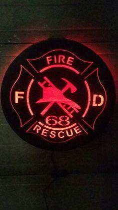Lit fire department sign - cnc plasma cut