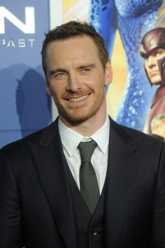 Michael Fassbender --- the picture of hisself as Erik is in the pic! I love this!!