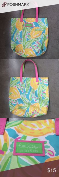 "Lilly Pulitzer for Estée Lauder Tote Bag Adorable and bright medium tote bag. Some small (untreated) signs of wear as photographed. Could potentially be removed if treated. 9"" straps (green on one side, pink on the other), 14.5"" tall, aporox 5"" deep, 16.5"" wide. Lilly Pulitzer Bags Totes"