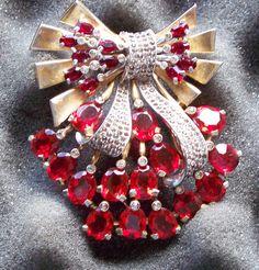Vintage Pennino Fancy Red Stone Brooch Large | eBay