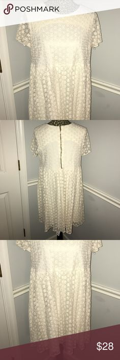 Asos Babydoll Off White Floral Dress Size 8 • excellent condition • size 8 • embroidered flowers • zip up back & button at top • fully lined • sheer sleeves ASOS Dresses Midi