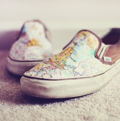 Makeover an old pair of shoes with Mod Podge and maps