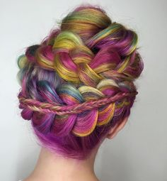How fun is this colorful rainbow wraparound braided updo hairstyle?!