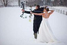 Bow hunting bride & groom