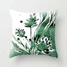 Green Flower Pillow, Floral Watercolor Painting, Abstract Flower Art,... ($40) ❤ liked on Polyvore featuring home, home decor, floral home decor, green home accessories and green home decor