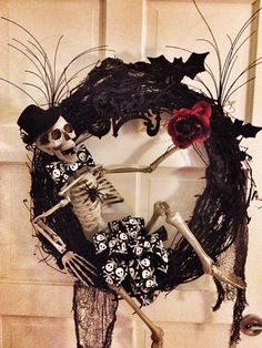 Halloween Skeleton Grapevine Black Wreath with Red Rose and Spiders on Etsy, $60.00