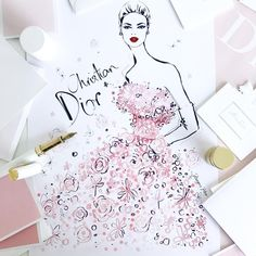 "5,689 Likes, 43 Comments - Megan Hess (@meganhess_official) on Instagram: ""The iconic Miss Dior Dress #NGVDior"""