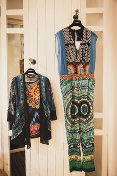 Jumpsuit and bohemian, ethnic jacket blue and green for Mr. Lacroix. Desigual Spring Summer 2015