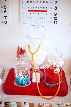 Doctor Nurse themed birthday or graduation party via Kara's Party Ideas www.KarasPartyIdeas.com-20. Too cute, @Juli Leonard Leonard Ann Bradish. I don't know what you would use this one for but it looks so cute!