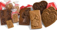 Springerle molds, gingerbread cookies, Santa and floral, House on the Hill