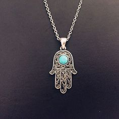 Vintage Silver Turquoise Hamsa Hand Fatima Palm Necklace