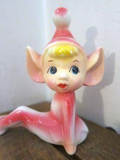 Vintage Decorative Ceramic Collectible Hot Pink Pixie Figurine | eBay