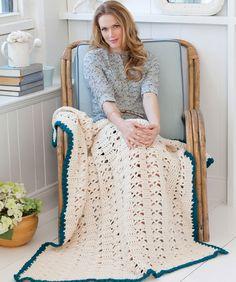 Weekend Throw, free pattern (no. LW2684) from Red Heart   . . . .   ღTrish W ~ http://www.pinterest.com/trishw/  . . . .  #crochet #afghan #blanket #lacy