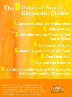 The 8 habits of successful dieters | via @SparkPeople #sparksolution