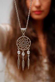Dream Catcher Silver necklace hippie festival necklace by Estibela