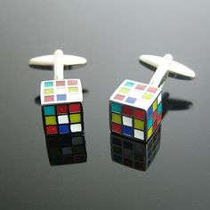 Rubik's Cube motif Cufflinks by cuffcuff on Etsy, $48.00 - IAN if you don't stop messing with this damn thing, you're getting these for your birthday