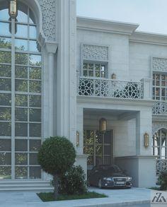 Arabic Villa on Behance Villa Design, Facade Design, Exterior Design, House Design, Islamic Architecture, Interior Architecture, Conception Villa, Dream House Exterior, Facade House