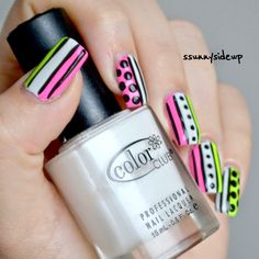 ssunnysideup: Neon mix and match nails with china glaze and color club inspired by yagala