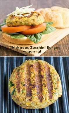 This easy peasy Chickpeas Zucchini Burger is a delight to the taste buds. Not to forget that its loaded with protein and other nutrients. Veg Recipes, Whole Food Recipes, Vegetarian Recipes, Cooking Recipes, Healthy Recipes, Summer Recipes, Sin Gluten, Vegan Burgers, Chickpea Veggie Burger Recipe