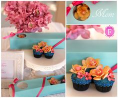 Mother's Day cupcakes with sugar flowers.