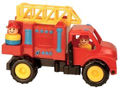 Battat Fire Engine Two little fire fighters are ready to rescue with their Battat Fire Engine. It even has a ladder that extends and pivots to an upright position. A tilting cab adds to the fun. Why You'll Love It: Pretend play heros can finally have a fire engine of their own. Age: 18 months and up Features Colorful and sturdy fire engine