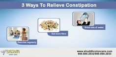 3 ways to relieve constipation Exercise regularly,Eat more fibre & Drink lots of water contact us for more details ->http://shuddhcoloncare.com/  #Constipation #relieveconstipation #dailyhealthtips #constipationtreatment