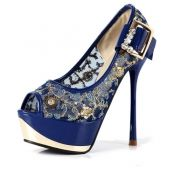 $24.99 Fashion Vintage Round Peep Toe Stiletto High Heels Blue PU Pumps