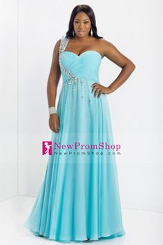 Plus Size Prom Dresses 2014 A-Line One Shoulder Floor-Length Chiffon USD 149.99 NPSP84YH485 - NewPromShop.com