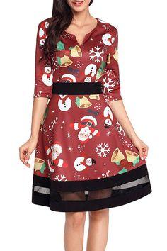 Jolly Christmas Cartoon Print Burgundy A-line Dress