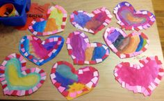 painted hearts with mosaic border