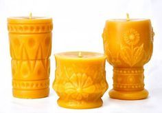 Beeswax candles handmade from vintage glassware and bottles — Retro Renovation
