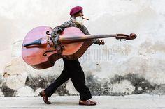 Cuban Man Walking with Double Bass