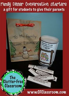 "Christmas Gift idea for students to give to parents ""Family Dinner Conversation Starters"""
