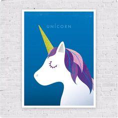 Illustration poster Unicorn Affiche format A3 Licorne et