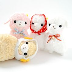"The Kids Alpacasso plushies are ready to spend the day together trotting through a fresh green makiba, which means ""prairie"" in Japanese, beneath the warmth of the sun. Four versions are available: Momo-chan, Hana-chan, Beige Jr., and Yuki-chan. Each Alpacasso plushie is wearing either a bow inspired by Tyrolean fabric with a bell or a cute bonnet. Beige Jr. even has sheep horns on the sides of hi..."