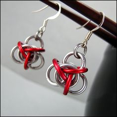 Tao Chainmaille Earrings Red and Silver by Janabolic on Etsy - Stylehive