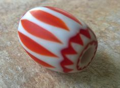 Orange Chevron Beads,Trade Beads,32 mm Medium Glass Layered Beads,African Trade Beads, Glass Beads,Craft Supplies,Bead Supplies, Old Beads by RedEarthBeads on Etsy