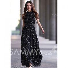 $12.67 Elegant Keyhole Neckline Polka Dot Sleeveless Chiffon Maxi Dress With Belt For Women