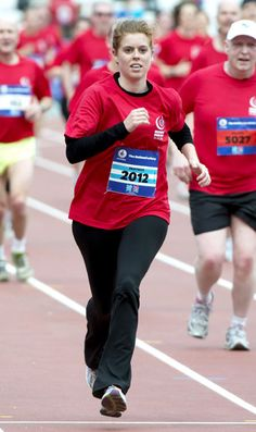 Princess Beatrice running in a Marathon for the 2012 London Olympics.