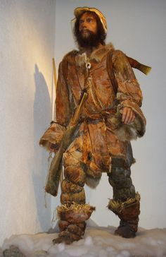 A reconstruction of the clothing of Ötzi at a Museum at Bélesta. A very free interpretation without any reference to the arachaeological find.